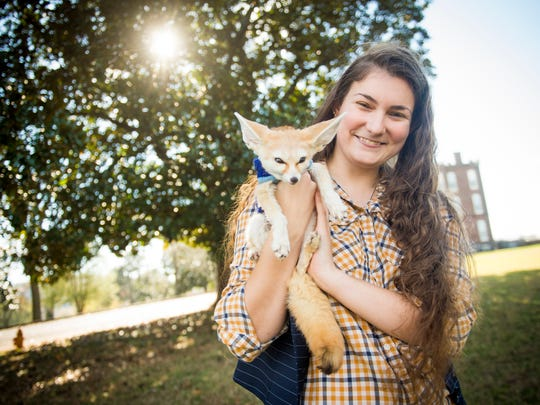 Victoria Klouda, pictured holding her fennec fox Felix, is challenging a Knox County ordinance on which animals are and are not allowed in county parks.