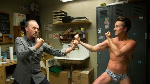 """This image released by Fox Searchlight Pictures shows Michael Keaton, left, and Edward Norton in a scene from """"Birdman."""" Norton was nominated for a Golden Globe for best supporting actor in a drama for his role. The 72nd annual Golden Globe awards will air on NBC on Jan. 11."""