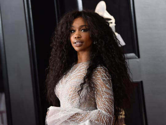 SZA arrives at the 60th annual Grammy Awards at Madison