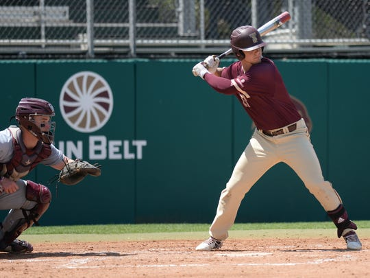 Texas State University senior infielder Mickey Scott