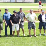 Members of the 1975 state champion Great Falls Chargers were reconized during Sunday's home game in Centene Stadium.