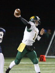 Burr and Burton quarterback Jake Stalcup unleashes a pass in the 2011 Division II football state championship game.