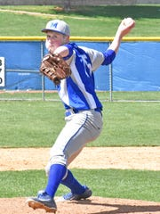 McConnellsburg's Brice Feagley throws a pitch during