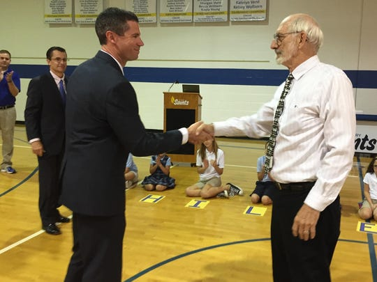 St. Mary School Principal Matt Grosser and Ray Hildebrand