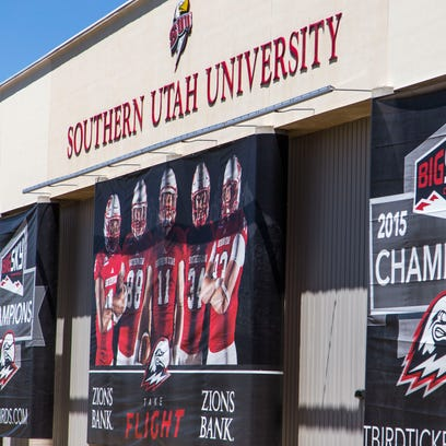 New banners hang from the Eccles Coliseum at Southern