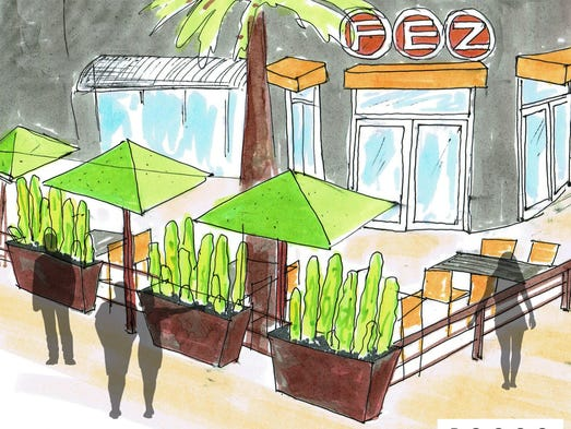 Rendering of the front patio of the new Fez, which