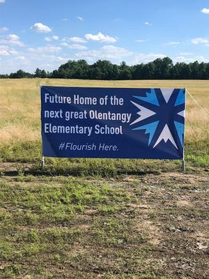 A sign marks the location of Olentangy Schools' 16th elementary school on Peachblow Road west of Piatt Road.