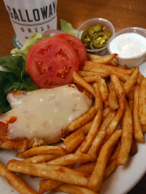 The Redbird without a bun and beer battered fries at The Galloway Grill in Springfield.