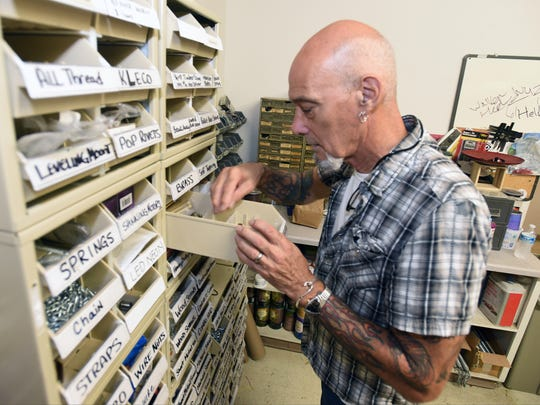Jim Hayes keeps an extensive collection of hardware on hand for the many one of a kind pieces he creates at his shop.