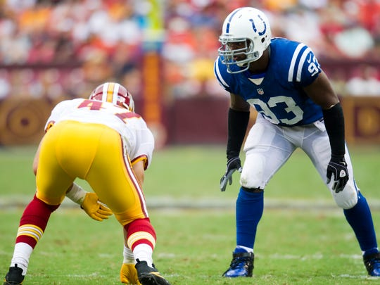 Dwight Freeney of the Colts, lines up in an up position against Chris Cooley, Indianapolis Colts at Washington Redskins, FedEx Field, Landover, MD, Saturday, August 25, 2012. Washington won 30-17. Robert Scheer/The Star.