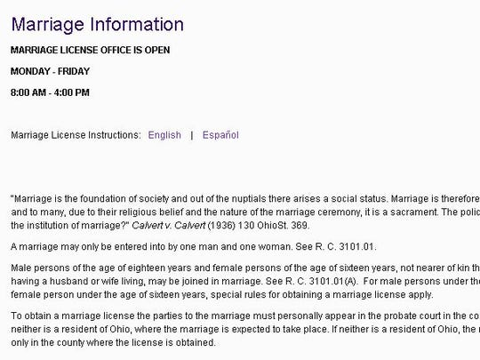 This is a screenshot of the Butler County Probate Court's website on July 8. It says marriage must be between a man and a woman.