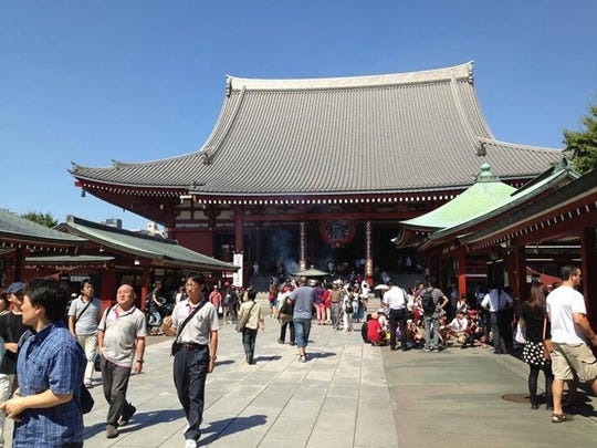 Visit to Tokyo, Japan, Buddhist temple, as part of a Manitowoc sister city program delegation.