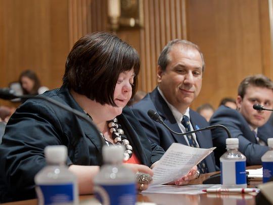 Advocate Sara Wolff testified before a Senate panel