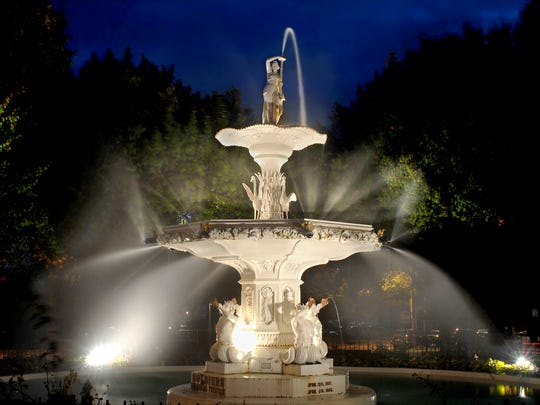The historic Soldiers Memorial Fountain, near Eastman