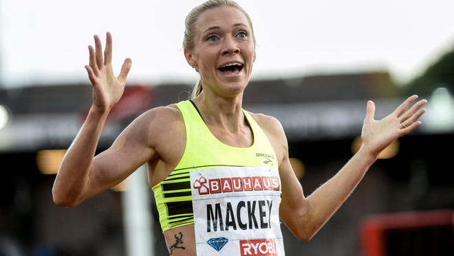 Katie Mackey, a former Fort Collins High School standout, celebrates winning the 3,000 meters at a Diamond League meet in Stockholm, Sweden in 2015. Mackey finished second in the 3,000 on Saturday at the USA Track and Field Indoor Championships to qualify for the world championships next month in Birmingham, England.