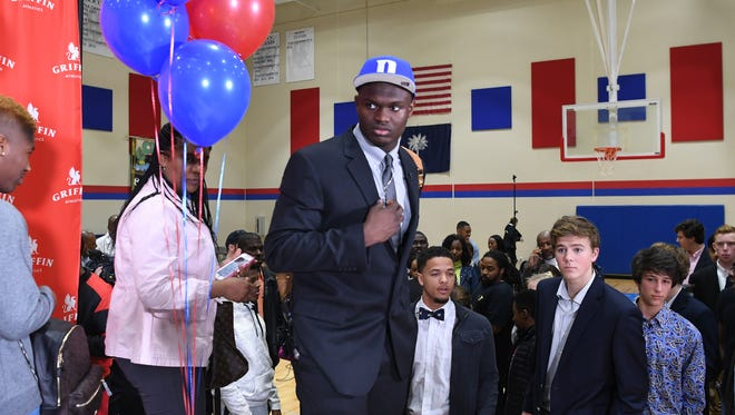 Basketball star Zion Williamson announces Duke as his college choice from Spartanburg Day School on Saturday, January 20, 2018. He chose between Clemson, South Carolina, Duke, Kentucky, and North Carolina.