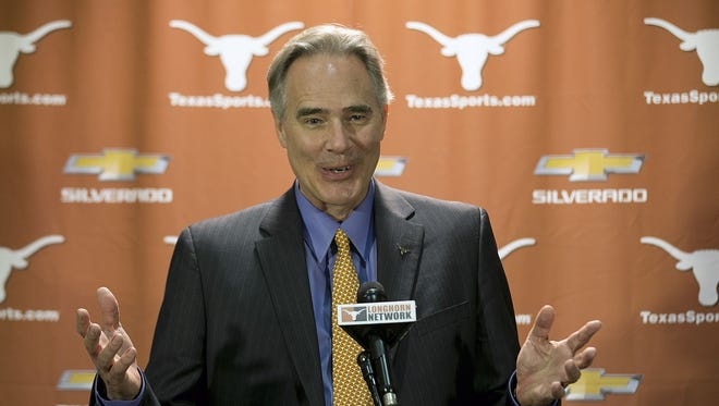 Steve Patterson meets with the media in Austin, Texas, after he was hired as Texas' athletic director.