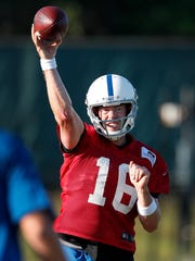 Indianapolis Colts quarterback Scott Tolzien (16) drops back to pass during their preseason training camp practice at the Colts complex on West 56th Street Wednesday morning August 9, 2017.