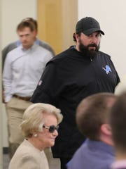 Matt Patricia arrives at a news conference to address a dismissed sex assault case May 10 in Allen Park.