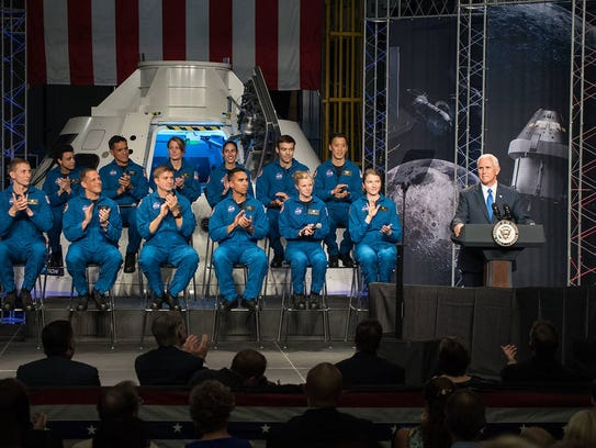 Mike Pence delivers remarks during an event where NASA