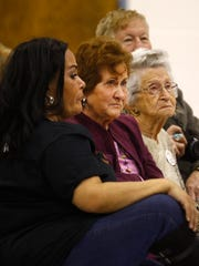 Katie Potter, second from left, is recognized during an Aztec Municipal School District board meeting on Tuesday at Aztec High School.