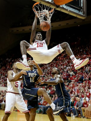 Indiana Hoosiers forward Hanner Mosquera-Perea, shown dunking against Pittsburgh in December, is working his way back into the rotation after an injury.