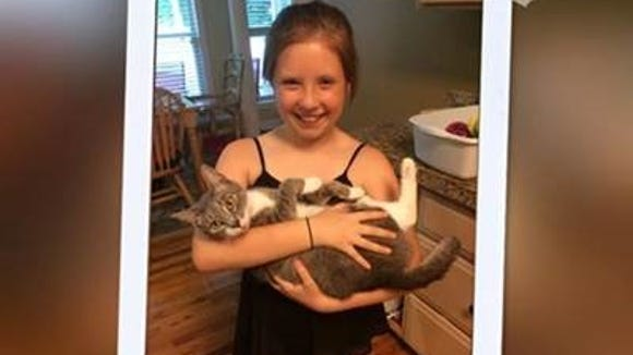 Super youth volunteer Emily has a soft spot for cats who prefer to see the world from her arms. Adoptable Piper would like to be your BFF.