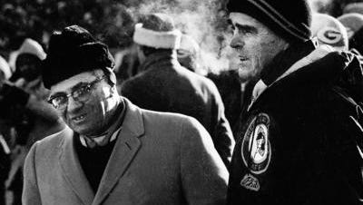 Green Bay Packers coach Vince Lombardi, left, and defensive coordinator Phil Bengtson watch from the sidelines during the Packers 21-17 victory over the Dallas Cowboys in the NFL championship game at Lambeau Field on Dec. 31, 1967 in this photo from the Green Bay Press-Gazette.