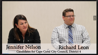 Cape Coral City Council candidates Jennifer Nelson and Richard Leon answer questions by The News-Press editorial board. They are running for the district 4 seat.
