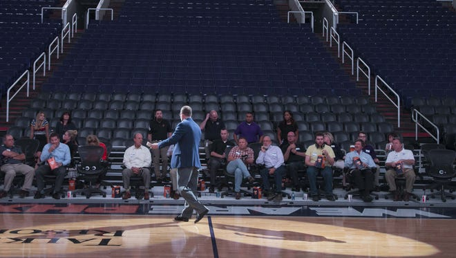 Steve Reese, vice pesident and chief information officer of the Phoenix Suns, shows how the team is incorporating virtual reality into its business efforts at Talking Stick Resort Arena in Phoenix  on April 4, 2017.