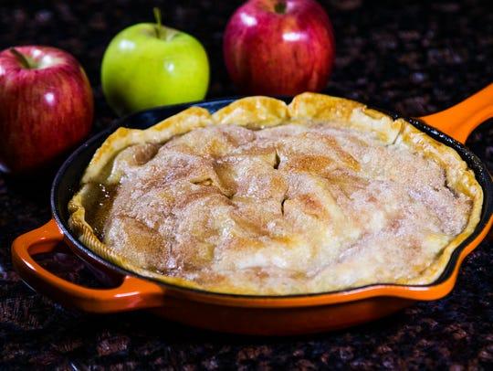 Chef Robin Miller made skillet apple pie in her kitchen,