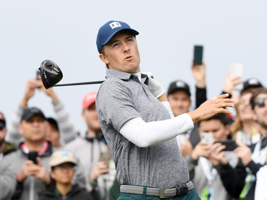 Jordan Spieth plays his shot from the ninth tee during the third round of the AT&T Pebble Beach Pro-Am.