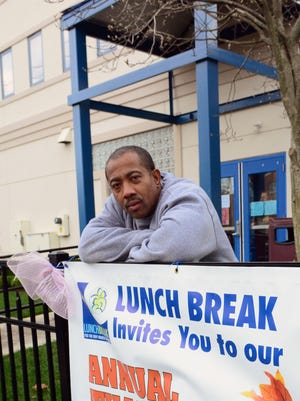 Allah Johnson, of Red Bank, outside of Lunch Break's free Thanksgiving dinner Thursday afternoon.