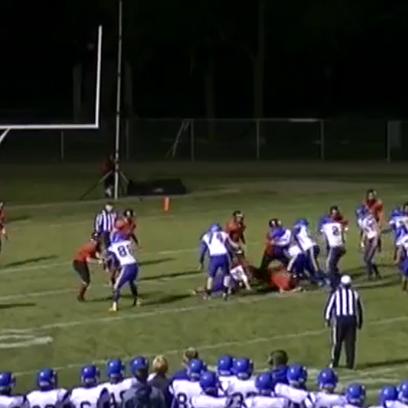 A screenshot of Gillett senior Brian Zahn's interception