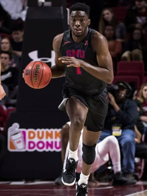 SMU's Shake Milton (1) in action during the second half of an NCAA college basketball game against the Temple on Thursday, Feb. 9, 2017, in Philadelphia. SMU won 66-50. (AP Photo/Chris Szagola)