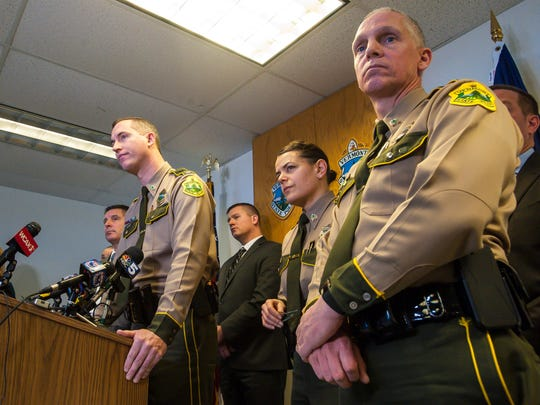 Col. Matthew Birmingham of the Vermont State Police, left, discusses Sunday's fatal shooting of Benjamin Gregware in Bolton during a news conference in Williston on Monday, February 12, 2018.  Gregware was shot by a Vermont state trooper and a Richmond police officer after a car stop on I-89.