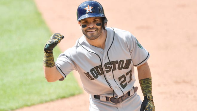 Astros second baseman Jose Altuve set a team record with hits in 10 consecutive at-bats over the weekend.