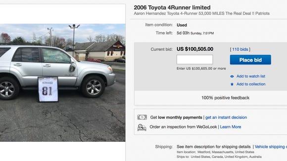 Aaron Hernandez's 4Runner ends up on eBay for $100K
