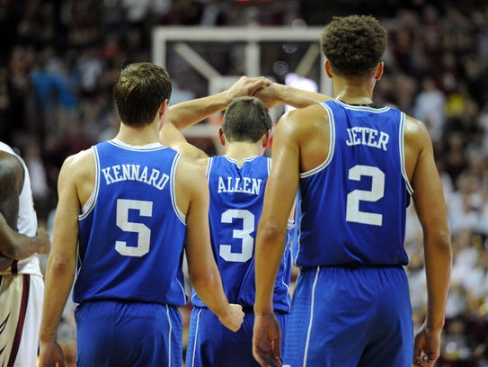 Duke guard Luke Kennard (5), guard Grayson Allen (3),
