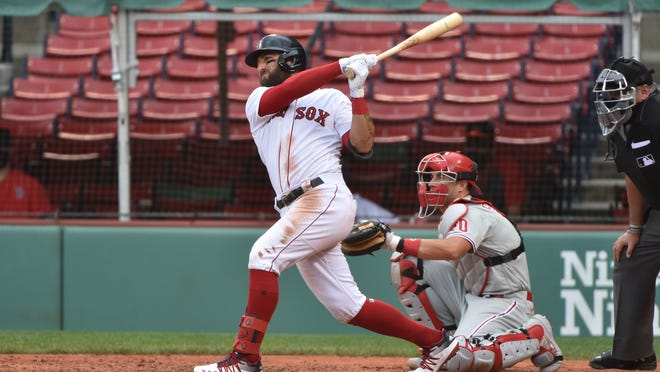 Red Sox right fielder Kevin Pillar (5) hits a double against the Phillies last week at Fenway Park.