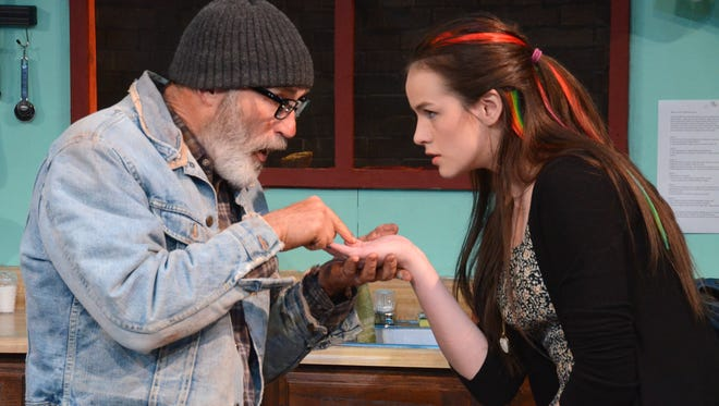 """Tom Noga as Frog and Shelby Daeffler as Emma in Theatre Artists Studio's """"Grand Concourse."""""""