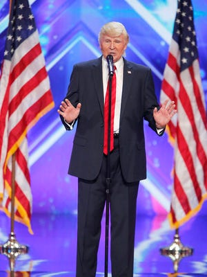 """The Singing Trump performs on """"America's Got Talent"""" auditions in Pasadena."""