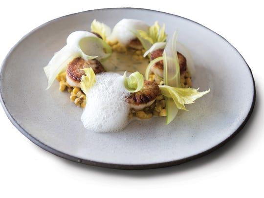 Barnegat Bay scallops 'Sicilian style' crispy riso and charred NJ corn