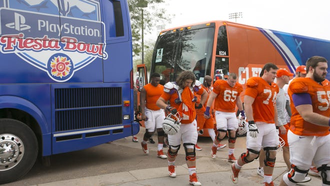 Clemson arrives for practice at Scottsdale Community College in Scottsdale on Dec. 28. 2016. Clemson plays Ohio State in the Fiesta Bowl on Dec. 31.