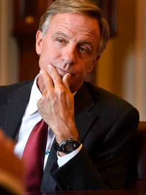 Gov. Bill Haslam listens carefully to a question before answering at the state Capitol on Jan. 30, 2018.