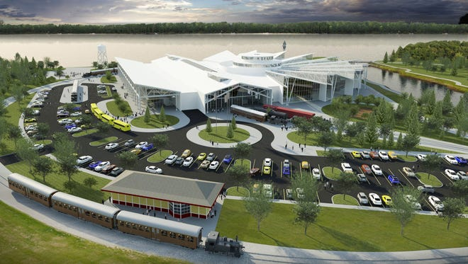 An architectural rendering shows the planned reconstruction of the National Railroad Museum in Ashwaubenon on its existing 33-acre space.