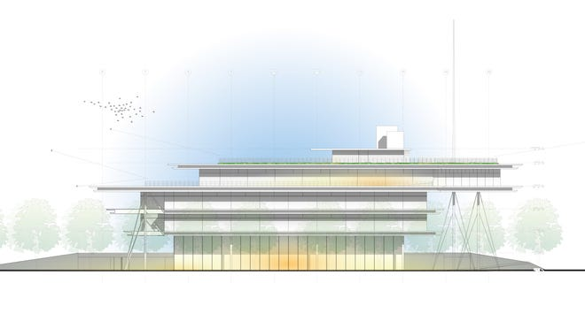 A rendering of the new Kum & Go Headquarters at 1459 Grand Ave. in downtown Des Moines.