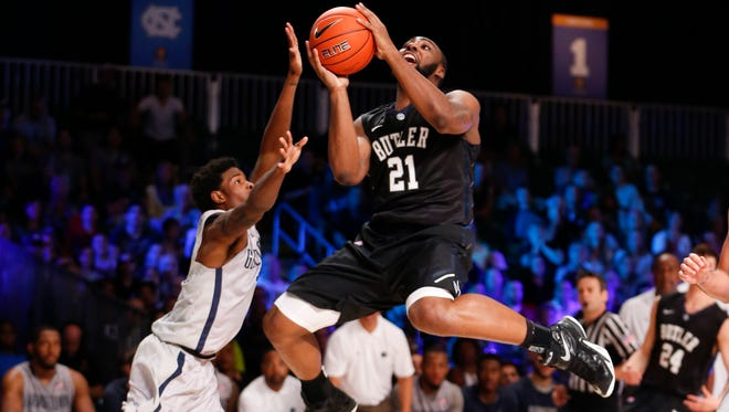 Butler Bulldogs forward Roosevelt Jones (21) shoots against the Georgetown Hoyas during the first half at Imperial Arena at Atlantis Resort.