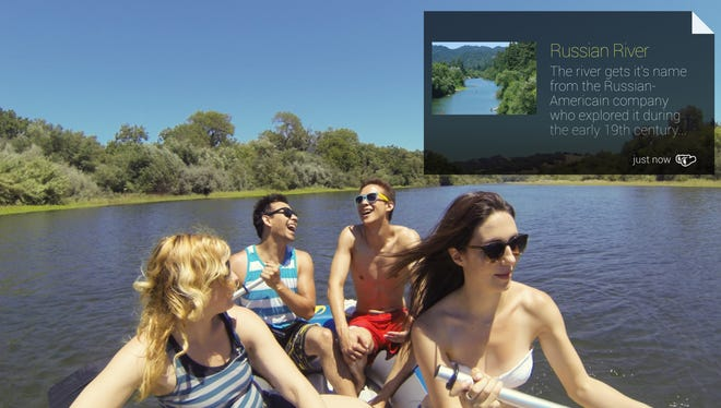 A photo showing the 'Field Trip' app providing location-based information on Google Glass.