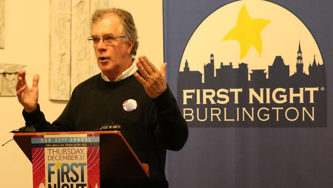 Tom Ayers, executive director of First Night Burlington, speaks at the kickoff event Thursday for the 33rd annual celebration. The New Year's Even celebration features more than 100 performances and activities in 17 venues throughout downtown.